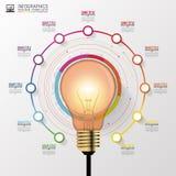 Ampoule avec des éléments de cercle pour infographic Illustration de vecteur illustration de vecteur