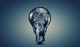 Ampoule avec des trains image libre de droits