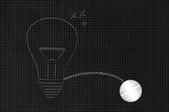 Ampoule avec la boule et la chaîne illustration de vecteur