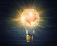 Ampoule avec le coeur d'amour Photographie stock libre de droits