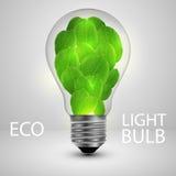 Ampoule avec le concept d'écologie de feuilles illustration libre de droits