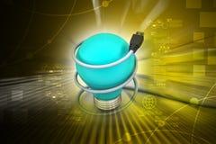 Ampoule avec le fil de corde Image libre de droits