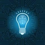 Ampoule avec le fond de carte mère de circuit de Brain Inside Icon Over Blue Images libres de droits
