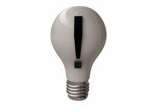 Ampoule avec le point d'exclamation Photographie stock