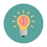 Ampoule avec un cerveau à l'intérieur illustration stock