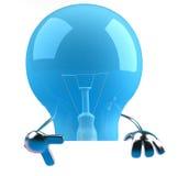 Ampoule avec un signe blanc illustration de vecteur