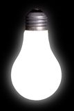 Ampoule blanche sur le noir Photos libres de droits