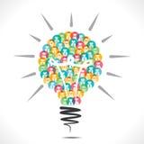 Ampoule colorée de conception d'icône de personnes Photos libres de droits