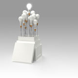 Ampoule 3d de crayon comme pensent en dehors de la boîte Photo stock
