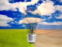 Ampoule d'Eco au-dessus de désert et d'herbe verte illustration de vecteur