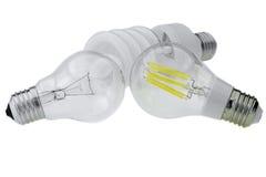 Ampoule d'Eco LED E27, tungstène classique et lampe fluorescente compacte Image libre de droits