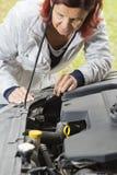 Ampoule d'halogène changeante de femme mignon Image libre de droits