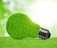 Ampoule d'énergie d'Eco dans l'herbe Images libres de droits