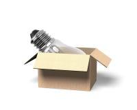 Ampoule dans la boîte en carton ouverte, illustration 3D Photographie stock libre de droits