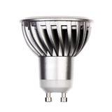 Ampoule de LED avec la prise GU10 d'isolement sur le blanc Image libre de droits