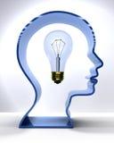 Ampoule de Person Mind Light d'idée dans la tête de silhouette Images libres de droits