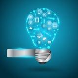 Ampoule de vecteur avec le réseau d'affaires de technologie illustration stock