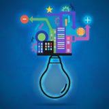 Ampoule de vecteur créatif moderne avec les graphiques colorés d'infos Photographie stock
