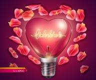 Ampoule en forme de coeur Illustration 3D réaliste de vecteur Carte de jour de Valentine Photos libres de droits