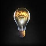 Ampoule en verre sur le fond noir Photo stock