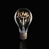 Ampoule en verre sur le fond noir Image libre de droits
