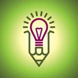 Ampoule et crayon Images stock