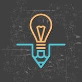 Ampoule et crayon, concept d'idée Photographie stock