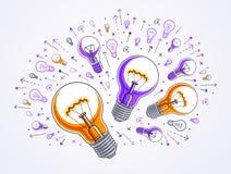 Ampoule et ensemble brillants d'icônes d'ampoule, idées concept créatif, allégorie d'échange d'idées illustration libre de droits