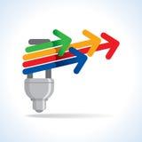 Ampoule et flèche colorée, concept d'idée Photo libre de droits