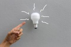 Ampoule et main Photo libre de droits