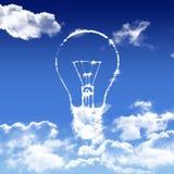 Ampoule forme nuage blanc ciel bleu. Illustration ampoule nuage ciel bleu printemps dégradé blanc seule dégrad Stock Photo