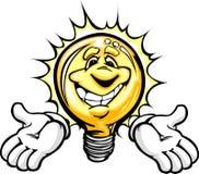 Ampoule heureuse avec le dessin animé de mains Photos stock