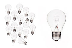 Ampoule - les idées d'affaires deviennent grandes   Photos libres de droits