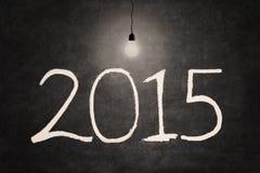 Ampoule lumineuse avec le numéro 2015 Images libres de droits