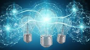 Ampoule lumineuse illuminant l'autre rendu des ampoules 3D Photographie stock libre de droits