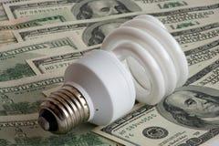 Ampoule neuve sur des dollars images stock