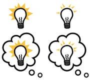 Ampoule ou idée d'isolement et dans la bulle de pensée illustration stock