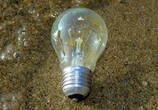 Ampoule ou idée qui ont survécu dans l'eau, une lumière mordue laissée dans l'ampoule photos stock