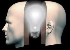 Ampoule pensante principale d'avant et de dos d'homme Photo stock