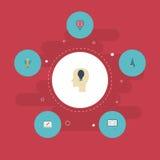 Ampoule plate d'icônes, boussole, idée et d'autres éléments de vecteur Ensemble d'icônes plates originales Photo libre de droits