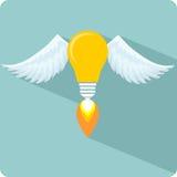 Ampoule rougeoyante avec Angel Wings et une flamme Photographie stock