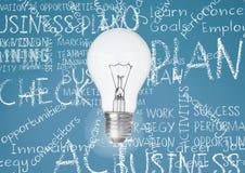 Ampoule sur le fond de turquoise avec des mots de craie d'affaires écrits images stock