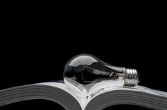 Ampoule sur un livre affichant des idées de l'inspiration Photographie stock libre de droits