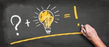 Ampoule sur un tableau noir et une main avec la craie faisant une équation du succès image libre de droits