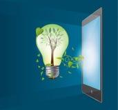 Ampoule verte d'écologie avec le concept de comprimé Photographie stock libre de droits