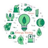 Ampoule verte d'économie d'énergie d'Eco Images stock