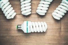 Ampoules économiseuses d'énergie sur le fond en bois photographie stock libre de droits