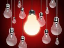 Ampoules avec l'idée Conzept Images libres de droits