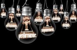 Ampoules avec le concept de représentation images stock