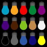 Ampoules avec toutes les couleurs illustration libre de droits